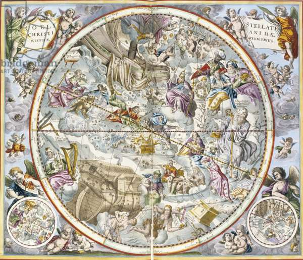 Map of the Christian Constellations as Depicted by Julius Schiller, from 'The Celestial Atlas, or The Harmony of the Universe' (atlas coelestis seu harmonia macrocosmica) pub. by Joannes Janssonius, Amsterdam, 1660-61 (hand coloured engraving)