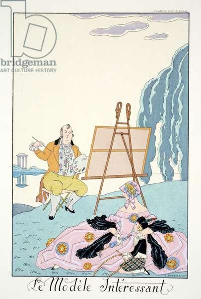 The Interesting Model, from 'Falbalas & Fanfreluches, Almanach des Modes Présentes, Passées et Futures', 1926 (colour litho)