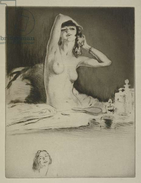 A woman at her toilet, illustration for 'Mitsou' by Sidonie-Gabrielle Colette (1873-1954) published 1930 (etching & drypoint)