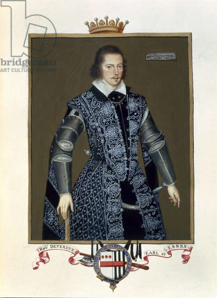 Portrait of Robert Devereux (1566-1601) 2nd Earl of Essex from 'Memoirs of the Court of Queen Elizabeth' after the oil by Sir William Segar (fl.1913-d.1633) published in 1825 (w/c and gouache on paper)