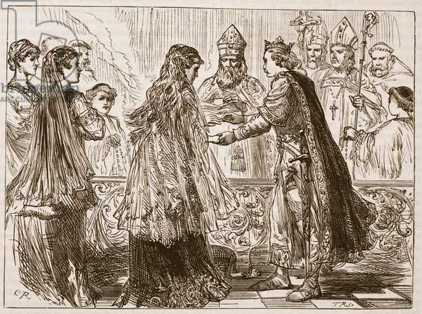 Marriage of Henry I and Matilda, illustration from 'Cassell's Illustrated History of England' (engraving) (sepia photo)