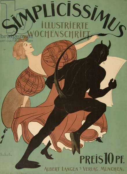 "Front Cover from ""Simplicissimus Illustrierte Wochenschrift"", pub. 1896 (colour litho)"