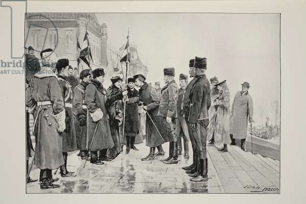 Lady Minto presenting Colours to Herchmer's Horse, on leaving Ottawa, 19th January 1900, from a photograph by J.C. Hemment (litho)