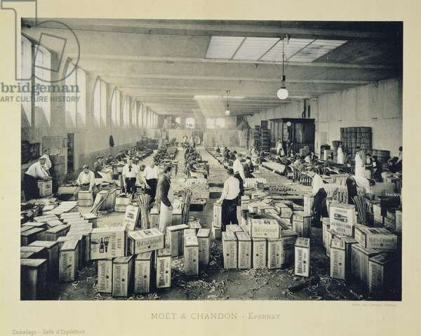 Packing cases for shipping, from 'La France Vinicole', published by Moet & Chandon, Epernay (photolitho)