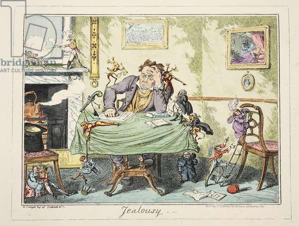 Jealousy, pub. 1835 (hand coloured engraving)
