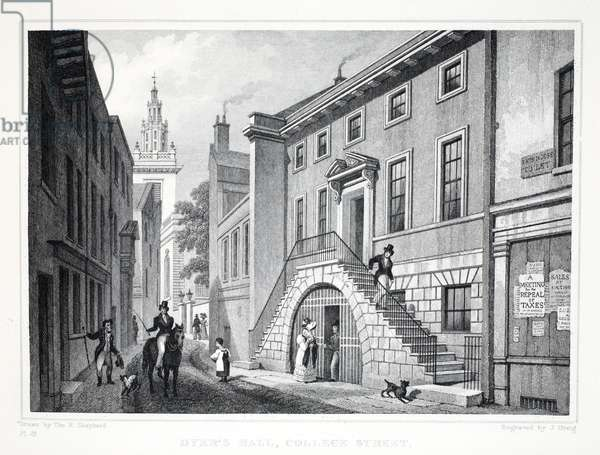 Dyer's Hall, Little Elbow Lane, from London and it's Environs in the Nineteenth Century pub. Jones & Co., 1827-1829 (engraving)