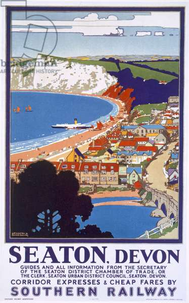 Seaton, Devon, poster advertising Southern Railway (colour litho)