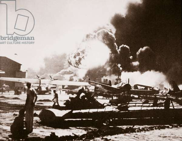 The wreckage-strewn Naval Air Station, Pearl Harbour, 7th December 1941 (b/w photo)