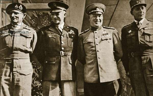 Field Marshal Montgomery, General Eisenhower, Marshal Zhukov, and General de Lattre de Tassigny, Berlin, 5th June 1945 (b/w photo)