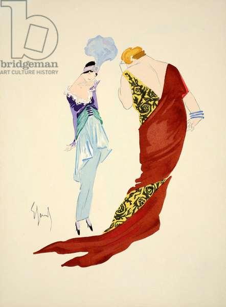 Design for day dress, 1912, plate 8, illustration from 'Robes et Femmes', pub. Dorbon-Ainé, Paris, 1913 (pochoir print)