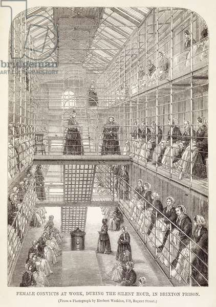 Female Convicts at Work during the Silent Hour in Brixton Prison, from 'The Criminal Prisons of London and Scenes of Prison Life' by Henry Mayhew (1812-87) and John Binny, 1860 (engraving)