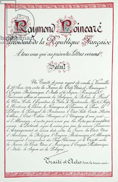 Letter from Raymond Poincaré, President de la Republique Francaise, from Histoire de la Troisieme Republique, Vol. I, l'Histoire Politique, pub.1933 (colour litho)