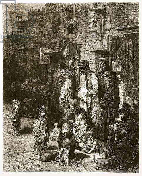 Wentworth Street - Whitechapel, from 'London, a Pilgrimage', written by William Blanchard Jerrold (1826-84) & engraved by A. Bertrand, pub. 1872 (engraving)