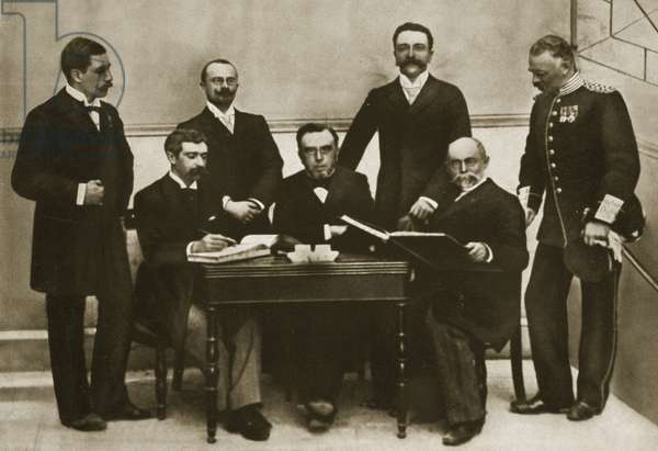 The first meeting of the Organising Committee (IOC) for the first Olympic Games, Athens, 1896 (b/w photo)