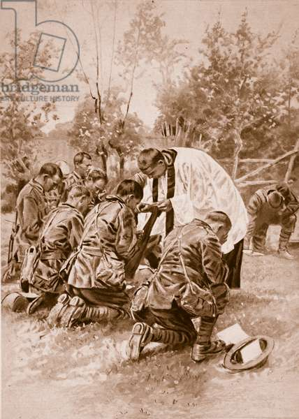 New Zealand Army chaplain administering Holy Communion to soldiers before battle, 1914-19 (litho)