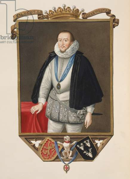 Portrait of Gilbert Talbot (1553-1616) 7th Earl of Shrewsbury from 'Memoirs of the Court of Queen Elizabeth' after a portrait by Sir William Segar (d.1633), published in 1825 (w/c and gouache on paper)