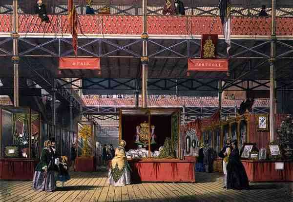 View of the Spain and Portugal sections of the Great Exhibition of 1851, from Dickinson's Comprehensive Pictures (colour litho)