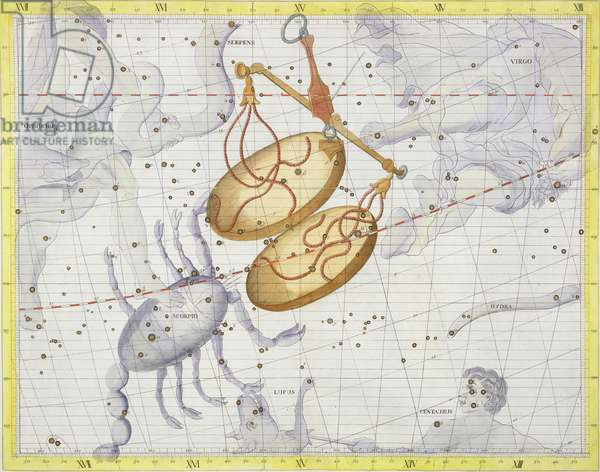 Constellation of Libra, plate 7 from 'Atlas Coelestis', by John Flamsteed (1646-1710), published in 1729 (hand coloured engraving)