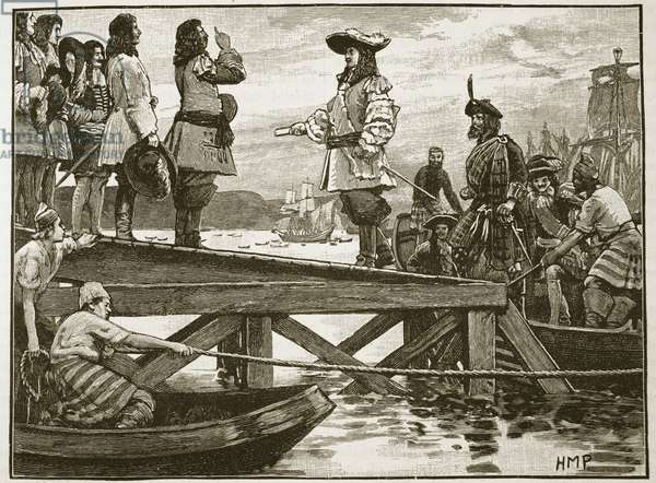 Landing of Marshall Schomberg at Carrickfergus, illustration from 'Cassell's Illustrated History of England' (engraving) (sepia photo)