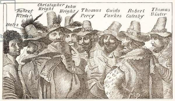 The Gunpowder Plot Conspirators, after a 1606 engraving (litho)