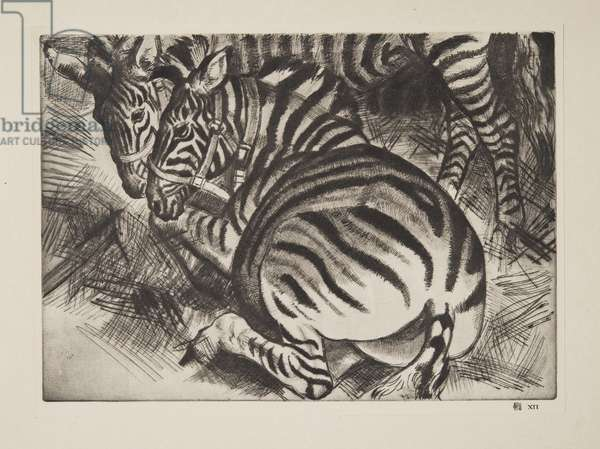 Zebras, published 1929-30 (drypoint)