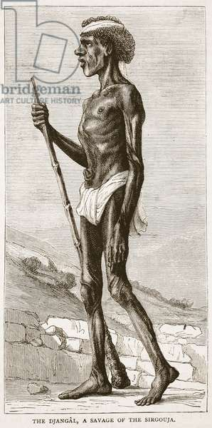 The Djangal, a Savage of the Sirgouja, illustration from 'Cassell's Illustrated History of England' (engraving)