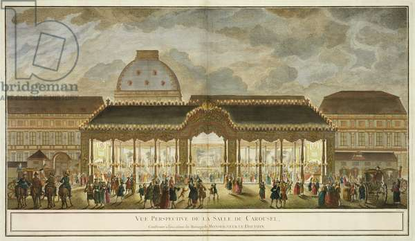 Perspective View of the Carousel Room, constructed for the occasion of the marriage of Monseigneur Le Dauphin, engraved by Oubrier (colour engraving)