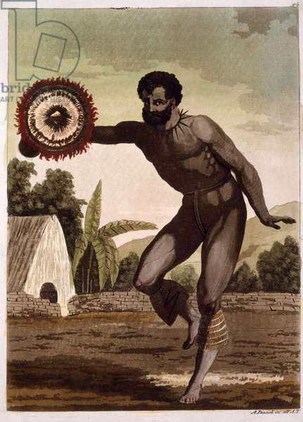 Man with Rattle (colour litho)