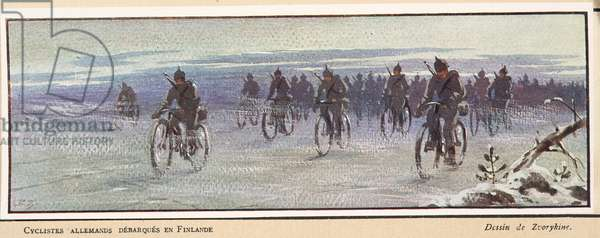 German cyclists arriving in Finland; from Histoire des Soviets, pub. 1922 (colour litho)