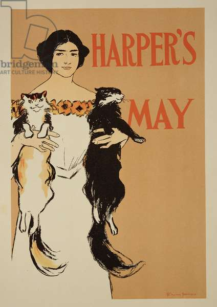 Reproduction of a poster advertising the May Issue of 'Harper's Magazine', 1897 (colour litho)