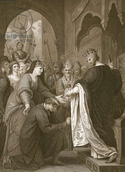 P.John's submission to Richard I, engraved by J. Stow, illustration from David Hume's 'The History of England', pub. by R. Bowyer, London, 1812 (engraving)