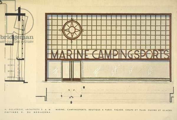 Marine, Campingsports, Boutiques, Henry Delacroix, Editions S De Bonadona, Paris, Late 1920s, Pochoir Print