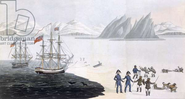 First Communication with the Natives of Prince Regent's Bay, 1818 (coloured engraving)