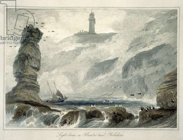 Lighthouse on Flamborough Head, from Volume VI of 'A Voyage Around Great Britain Undertaken between the Years 1814 and 1825' published 1822 (coloured engraving)