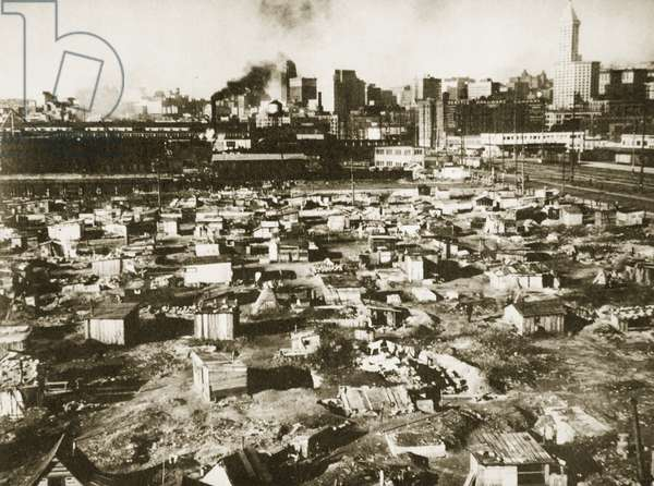 A 'Hooverville' on the Seattle water-front, March 1933 (b/w photo)