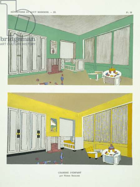 A child's bedroom, from 'Repertoire of Modern Taste', published 1929 (colour litho)