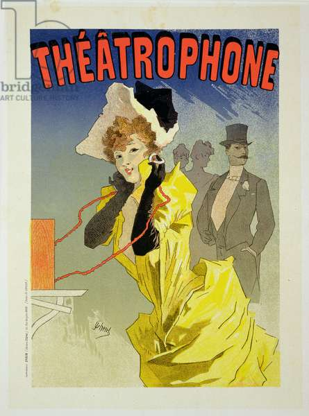 Reproduction of a poster advertising 'Theatrophone', 1890 (colour litho) (see 41410)