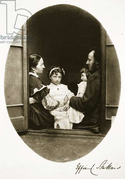 John Everett Millais with his wife and daughters, 21st July 1865 (sepia photo)