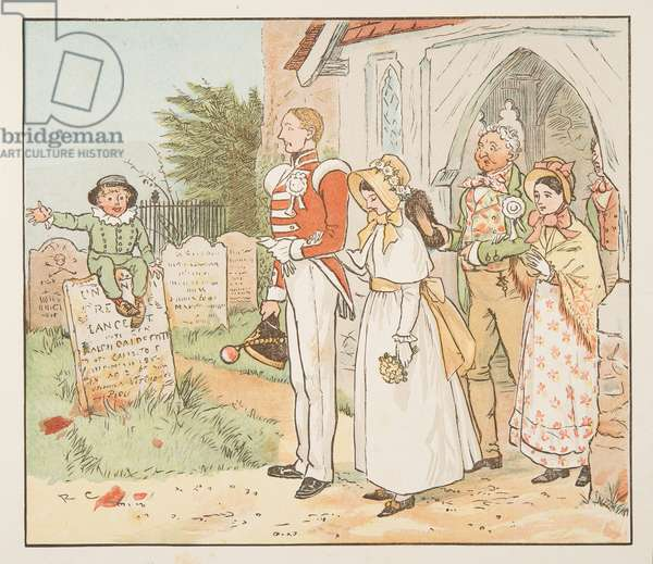 The Soldier and his Bride, from The Hey Diddle Diddle Picture Book, pub.1882 (colour engraving)