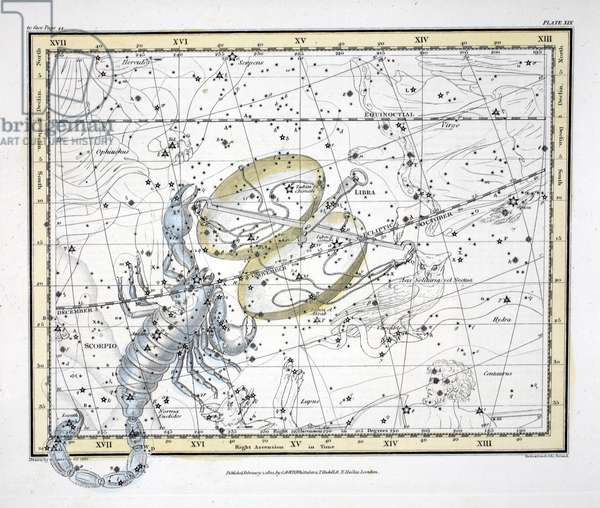 The Constellations (Plate XIX) Libra and Scorpio, from 'A Celestial Atlas' by Alexander Jamieson, pub. London 1822 (hand coloured engraving)