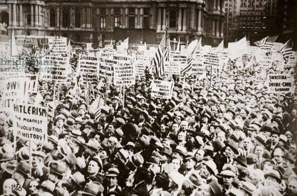 A demonstration against Hitler held in front of City Hall, Philadelphia, early 1930s (b/w photo)