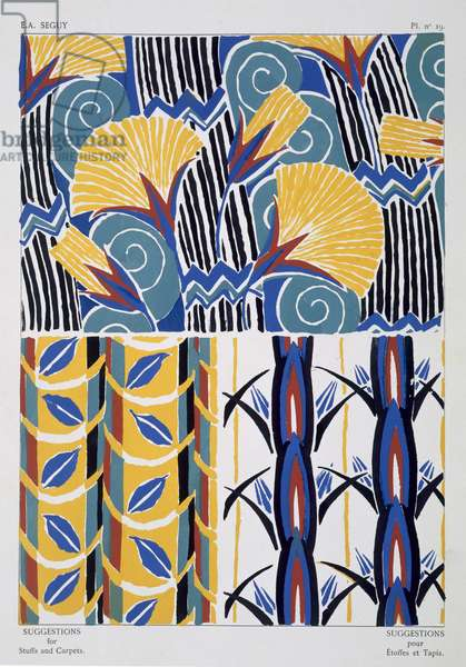 Interior design patterns, plate 19 from 'Suggestions for Stuffs and Carpets', published Paris, c.1925 (colour litho)