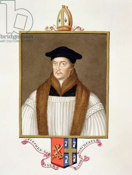 Portrait of Stephen Gardiner (c.1483-1555) Bishop of Winchester from 'Memoirs of the Court of Queen Elizabeth', published in 1825 (w/c and gouache on paper)