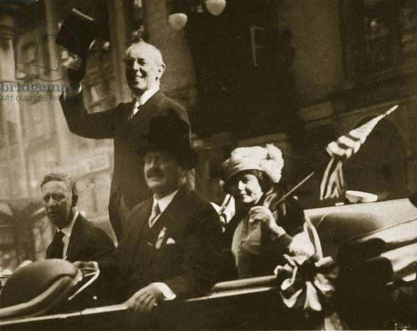 Woodrow Wilson Returns From Paris, 1919 (sepia photo)