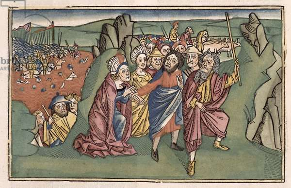 Exodus 14 Moses and the Israelites crossing the Red Sea, from the 'Nuremberg Bible (Biblia Sacra Germanaica)' (coloured woodcut)