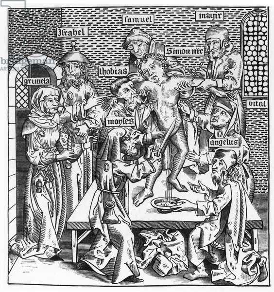 Martyrdom of Simon at Trent, after a woodcut in 'Liber Chronicarum Mundi', published Nuremburg, 1493 (litho) (b/w photo)