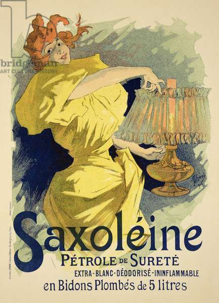 Reproduction of a poster advertising 'Saxoleine', safe parrafin oil, 1896 (colour litho)