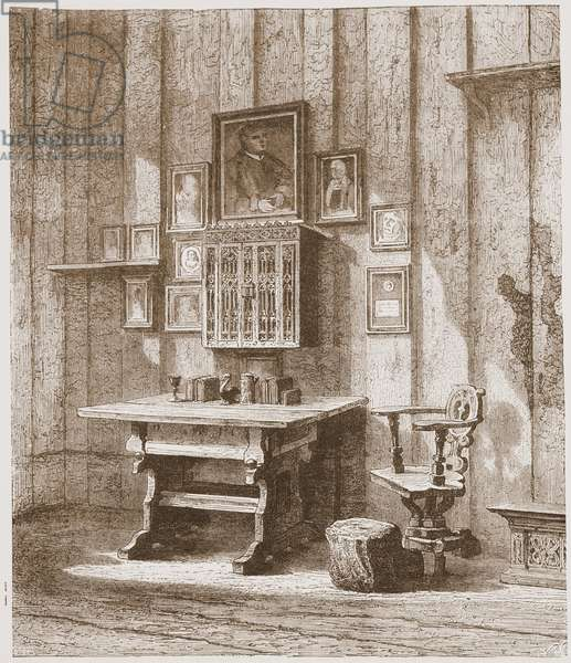 View of Luther's Room in the Wartburg, Showing the Ink-stain on the Wall, illustration from 'The History of Protestantism' by James Aitken Wylie (1808-1890), pub. 1878 (engraving)