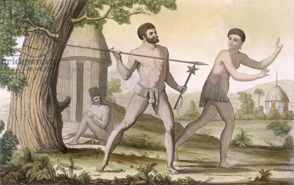 Inhabitants of New Caledonia, from 'Costume dei...' (colour engraving)