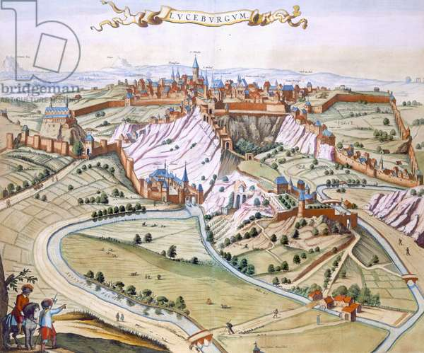 Luxembourg, the capital of the Duchy, 1649 (hand-coloured engraving)